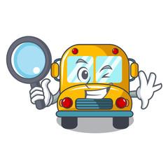Detective school bus character cartoon