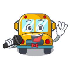 Singing school bus mascot cartoon