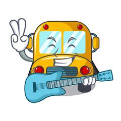 With guitar school bus mascot cartoon