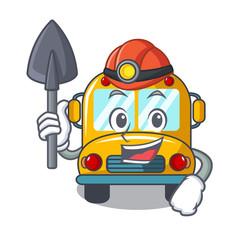 Miner school bus mascot cartoon