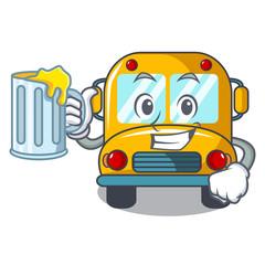 With juice school bus mascot cartoon