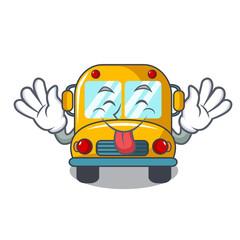 Tongue out school bus mascot cartoon
