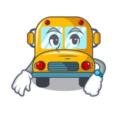 Waiting school bus mascot cartoon