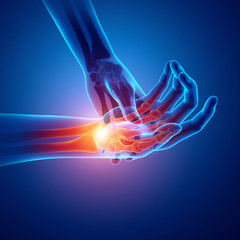 Men Feeling the Wrist Pain