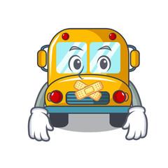 Silent school bus mascot cartoon