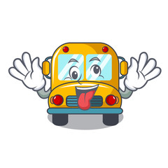 Crazy school bus mascot cartoon