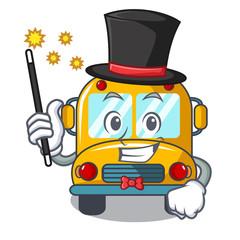 Magician school bus mascot cartoon