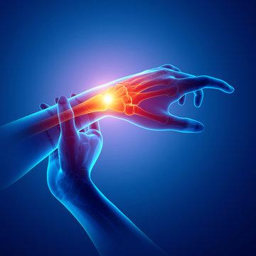 Men Feeling the Wrist Pain