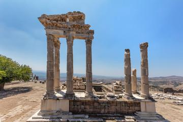 Bergama Acropolis. Temple of Trajan in the ancient city of Pergamon, Bergama, Izmir  Turkey
