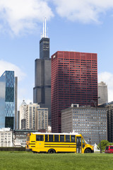Willis Tower (formely Sears Tower), CNA Center and other Chicago Landmarks. Picture taken from Michigan lake front.