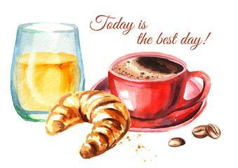 Traditional french morning breakfast. Croissant, orange juice, cup of coffee, coffee beans. Watercolor hand drawn illustration  isolated on white background