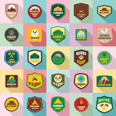 Scout badge emblem stamp icons set. Flat illustration of 25 scout badge emblem stamp vector icons for web
