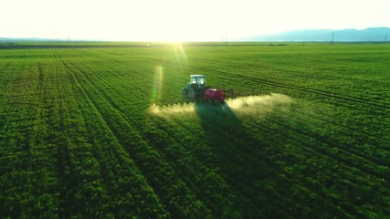Wall Mural - Aerial view of farming tractor plowing and spraying on field