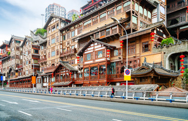 China Chongqing traditional houses on stilts