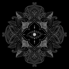 Hand drawn mandala with magic eye inside flower, and leaves in boho style on black background. Esoteric, mystical illustration in vector.