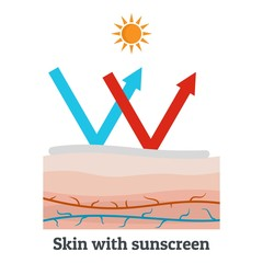 Skin with sunscreen icon. Flat illustration of skin with sunscreen vector icon for web design