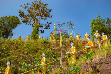 Buddha golden at Flagstaff Hill , Kanchanaburi in Thailand.