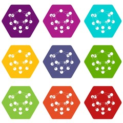 Glucose icons 9 set coloful isolated on white for web