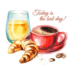 Traditional french morning breakfast. Croissant, orange juice, cup of coffee, coffee beans. Watercolor hand drawn illustration, isolated on white background
