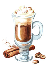 Traditional Irish cream coffee with cinnamon and coffee beans. Watercolor hand drawn illustration, isolated on white background