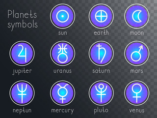 Vector set of round icons with astrological planets symbols. Signs collection: sun, earth, moon, saturn, uranus, neptune, jupiter, venus, mars, pluto, mercury. Colored.