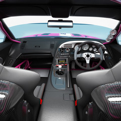 The interior of the car for racing. Executed elements and safety nodes of the pilot of a speedy balid.