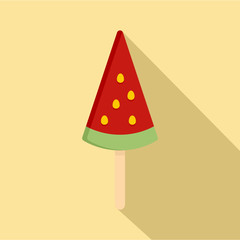 Ice cream watermelon icon. Flat illustration of ice cream watermelon vector icon for web design