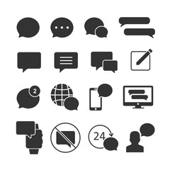 Vector image of a set of message icons.