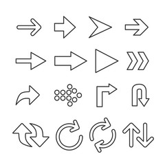 Vector image of set of arrows line icons.
