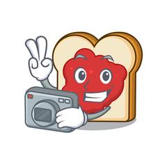 Photographer bread with jam mascot cartoon