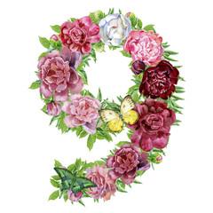Number nine of watercolor flowers