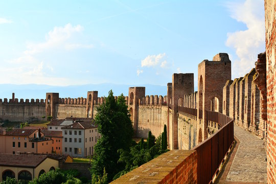 Ancient walls of Cittadella, beautiful village in Padua, Veneto, Italy.