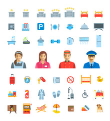 Hotel services vector flat icons set. Simple colorful pictograms. Isolated on white. Symbols for choosing of apartment. Different services for traveling singles and families with kids. Real estate