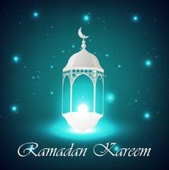 Beautiful Ramadan Kareem Lantern with light background