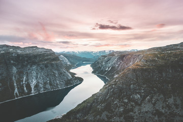 Poster Lichtroze Landscape Mountains and lake Ringedalsvatnet in Norway Travel sunset sky scenic view