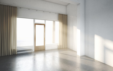 Beautiful White and Bright Room with Sun Light Passing Through, Decorated with Brown Clean Curtain and Cement Floor, Vintage Style, 3d Illustration, 3d Render.