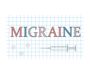 migraine word on checkered paper sheet- vector illustration