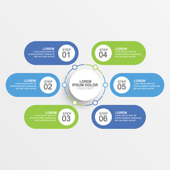 Circle infographic design template with option, process or step for business presentation