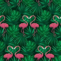Flamingos Tropic Leaf Seamless Pattern