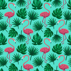 Flamingos Tropical Leaf Seamless Pattern