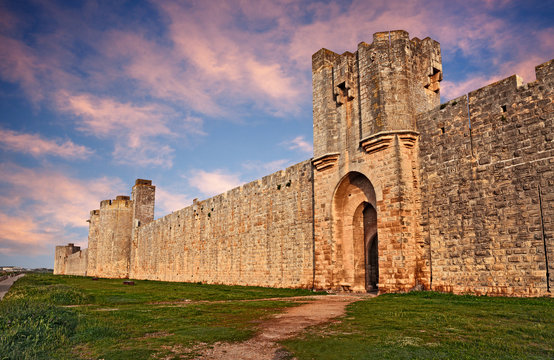 Aigues-Mortes, Gard, France: the medieval city walls of the town of Camargue