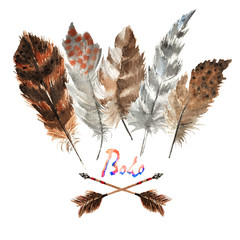 Boho style feather. Hand drawn watercolor. isolated on white.Hippie design elements with gradient.Rustic feathers Bright colors.