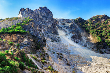 Mountain with marble quarries in Apennines mountains, Tuscany, near Carrara, Italy