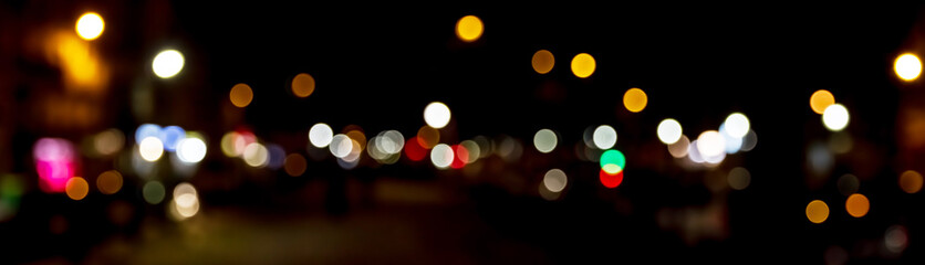 Bokeh traffic light at night in the street of a big city Fotomurales