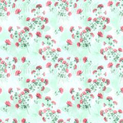 Seamless retro floral pattern . Cute red watercolor flowers on light background.