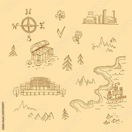 template of treasure map set of hand drawn scetched items fotolia