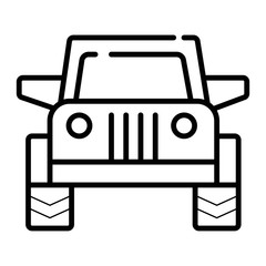 Offroad car. Single flat icon on white background. Vector