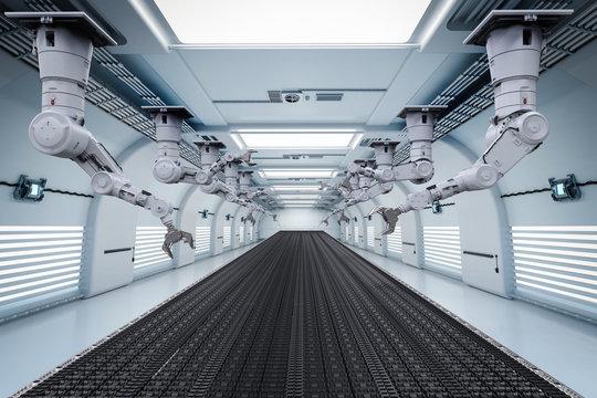 robot arm with conveyor line