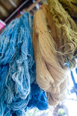 Colorful of Linen Threads Rope Yarn Hang on the Beam