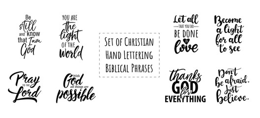 Set of Christian Hand Lettering Biblical phrases. Vector Biblical Calligraphy quotes Wall mural